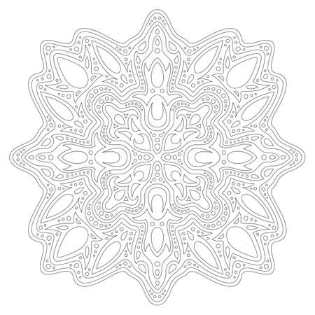 Beautiful monochrome linear illustration for coloring book page with abstract tribal pattern isolated on the white background