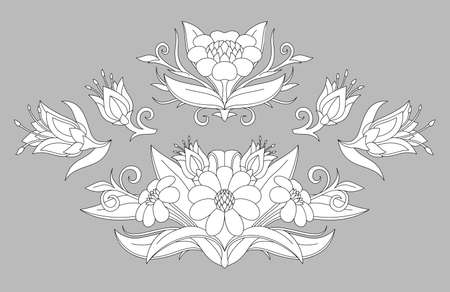 Beautiful monochrome illustration for coloring book page with floral patterns collection isolated on the gray background