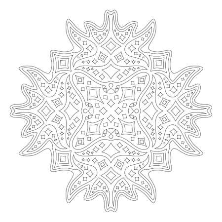 Beautiful monochrome linear illustration for coloring book page with abstract starry pattern isolated on the white background