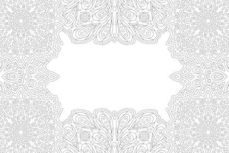 Beautiful monochrome linear illustration for adult coloring book page with abstract vintage border and white copy space 일러스트
