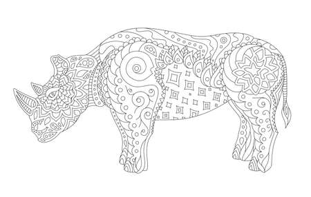 Beautiful monochrome illustration for coloring book page with stylized rhino silhouette isolated on the white background