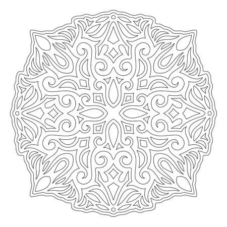 Beautiful monochrome linear illustration for coloring book page with abstract vintage single pattern isolated on the white background 일러스트