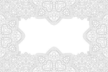 Beautiful monochrome linear illustration for valentines day coloring book with abstract romantic border and whie copy space