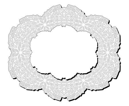Beautiful monochrome illustration for adult coloring book page with isolated abstract rame and white copy space 일러스트