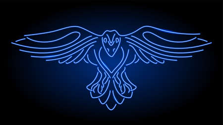 Beautiful linear illustration with neon blue shiny stylized raven silhouette on the dark background