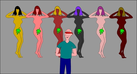 blindfold: man with blindfold and beautiful girls