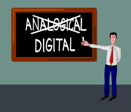 analogical: man and blackboard with digital-analogical concept