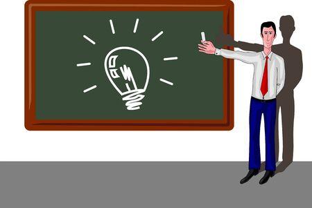 man with blackboard a light bulb Vector