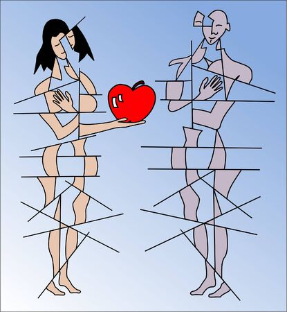 eden: man and woman with apple Illustration