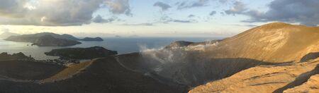vulcano: panorama view from the top of the Aeolian Islands Vulcano