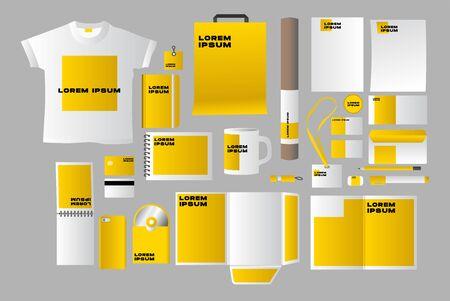 Identité d'entreprise de papeterie d'affaires définie jaune réaliste