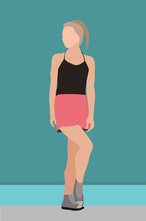 girl standing wearing black tank top and pink mini skirt, grey hair and grey boots, minimalist, flat color