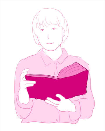 Vector illustration portrait of short hair girl holding and reading book. beautiful Wearing a pink shirt Beautifully draw in soft lines with blue themes. smart library girl