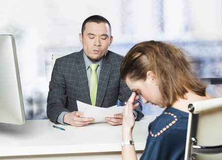 mistake: Bad job interview Stock Photo
