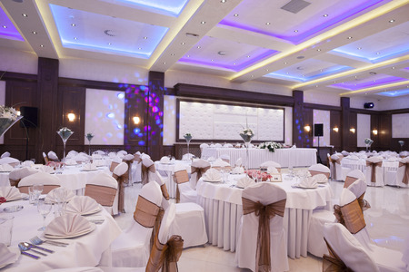 Wedding hall with colorful lights Stock Photo