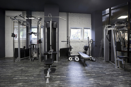 equipment: Weight machines in a gym Stock Photo