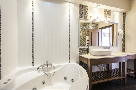 Modern hotel bathroom interior photo