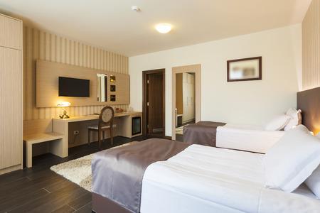 luxury hotel room: Modern twin bedroom interior