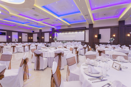 Banquet hall with colorful lights photo