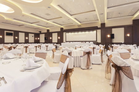 Banquet hall decorated for special occasion photo