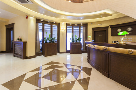 hotel door: Luxury hotel lobby with reception desk Stock Photo
