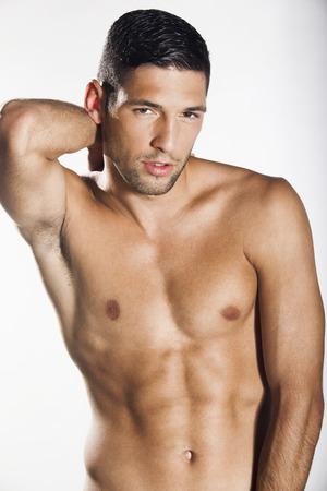 armpit: Sexy hombre descamisado muscular