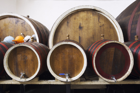 Different sized barrels in a wine cellar photo