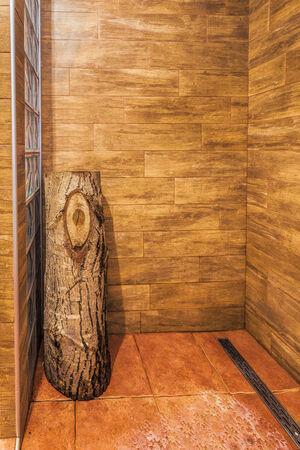 cabine de douche: Bois cabine de douche avec b�che de bois