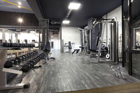 modern interieur: Moderne fitnessruimte interieur met diverse apparatuur