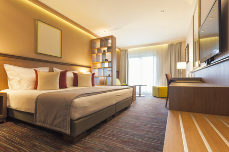 Interior of a modern hotel bedroom