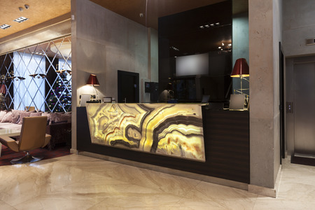 Glowing marble stone hotel reception