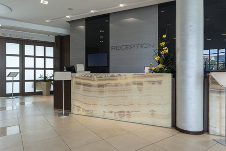 Reception desk in hotel