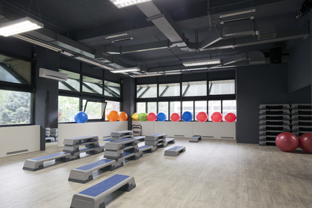 gym ball: Step boards and pilates balls in gym