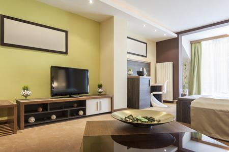 hotel interior: Modern spacious room interior
