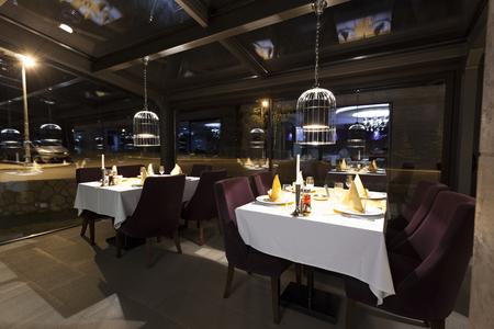 interior lighting: Interior of a stylish restaurant