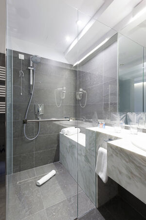bathroom tile: Shower in a modern bathroom