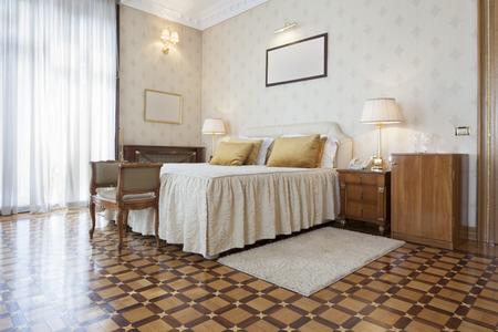 wallpapaer: Elegant luxury hotel bedroom interior Stock Photo