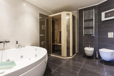 Moderne badkamer met sauna Stockfoto