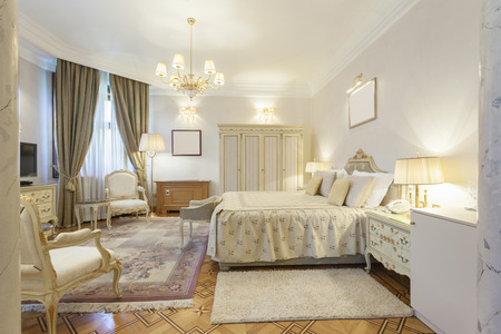 Interior of a classic style luxury bedroom photo