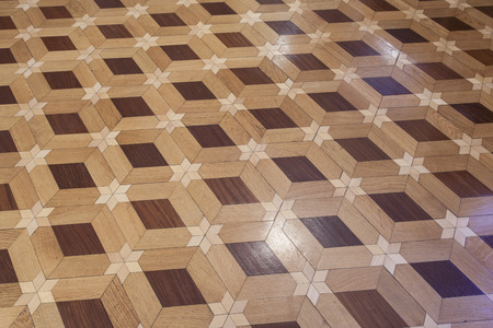 Hardwood floor with six pointed star pattern Stock Photo
