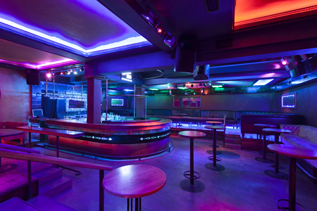 Nightclub with colorful lights Foto de archivo