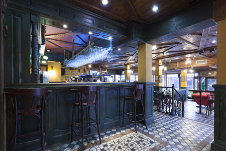 bar stool: Modern pub interior Stock Photo