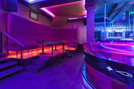 dancefloor: Nightclub with colorful lights Stock Photo