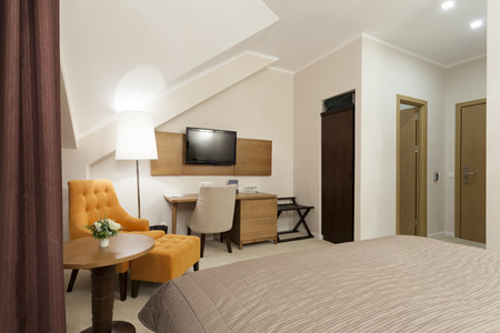 Modern hotel room interior photo