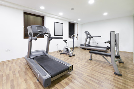 weight room: Exercise room with equipment