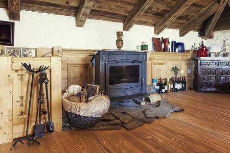 country house: Fireplace in a rustic attic room