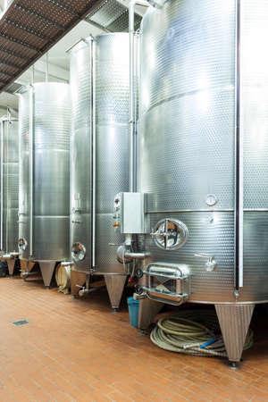 winemaking: Alluminium tanks in winemaking factory