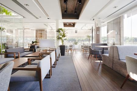 Interior aus einem eleganten Café am Flussufer