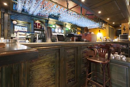 bar stool: Bar in a modern cafe