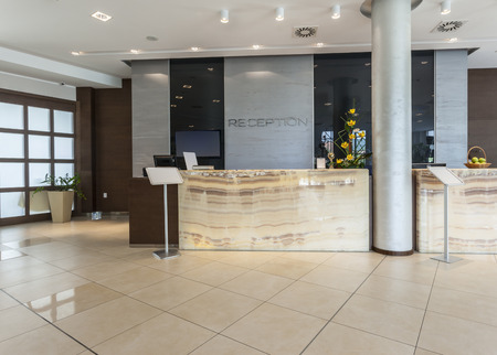 hotel sign: Modern hotel reception